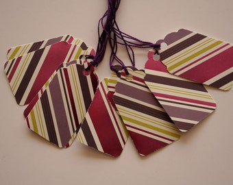 Foiled Purple Striped Gift Tags (10)