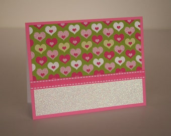 Valentine's Day Card- Hearts on Green