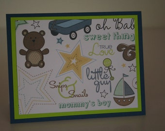 Baby Boy Card-  Stars and Baby Icons