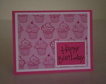 Birthday Card-  Pink Cupcakes
