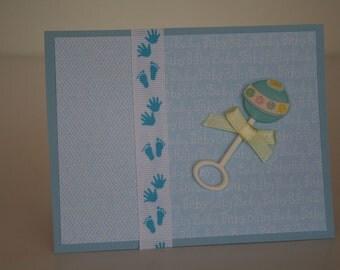 Baby Boy Card-  Rattle