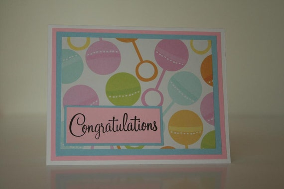 Unisex Baby Card- Congratulations w/ Rattles
