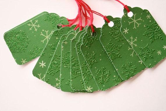 Green Snowflake Gift Tags (10)
