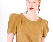 Brassy-Mustardy-Gold Swingy Cowl Shoulder Top