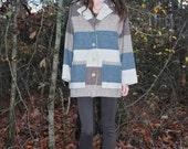 Oversized Striped Wool Coat