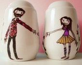 Personalised Valentine /Wedding / Engagement / Anniversary Gift Salt and Pepper shakersww