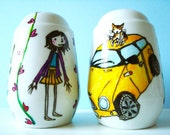 THEMED Personalised Salt & Pepper Shakers for Anniversary, Wedding or Engagement Gift, or just for your lover