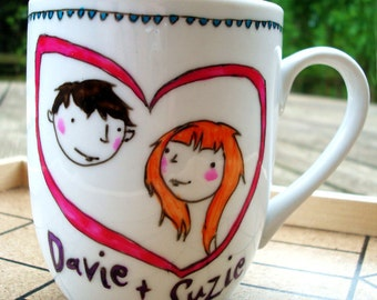 Custom Portrait, Personalised Mug / Cup for Wedding or Engagement Gift, or just for your lover