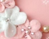 Swarovski Felt Floral Necklace - One of a kind