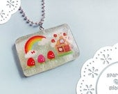 Glittery Resin Pendant - Strawberry House