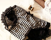 SAMPLE SALE Katrina Bustle Panties in Black and White Stripe SMALL