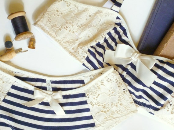Vintage Style Nautical Bon Voyage Blue and Ivory Bra and Panties Lingerie Set Hand Made to Order