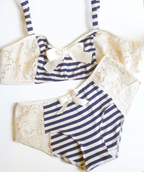 Bon Voyage Blue and Ivory Bra & Panties Set Made to Order