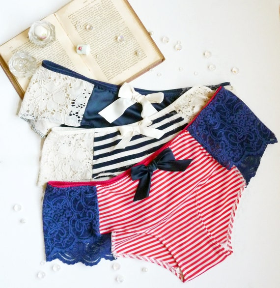 Nautical Retro Pin-up Cheeky Panties 3 for Sixty Dollars Handmade to Order Lingerie