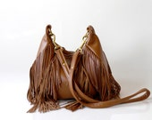 SALE Fringe Leather Bag - OPELLE Nautilus Bag - Soft Pebbled Leather w Fringe in Fawn