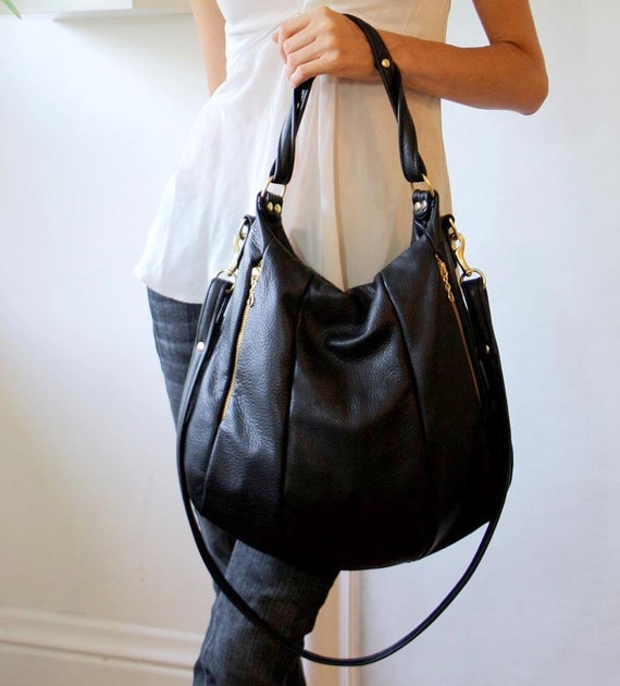 OPELLE Lotus Bag - Soft Black Pebbled Leather with Zip Pockets - Made to Order