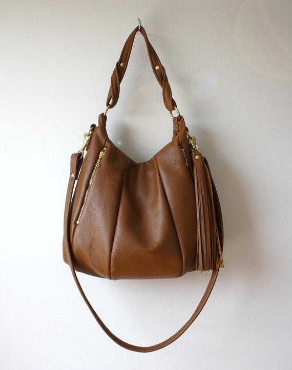 SALE Pebbled leather handbag - OPELLE Lotus Bag Purse - with Zipper Pockets in Fawn