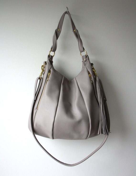 Grey Leather Purse - OPELLE Lotus Bag - Soft Italian Leather Handbag with Zipper Pockets in Dust