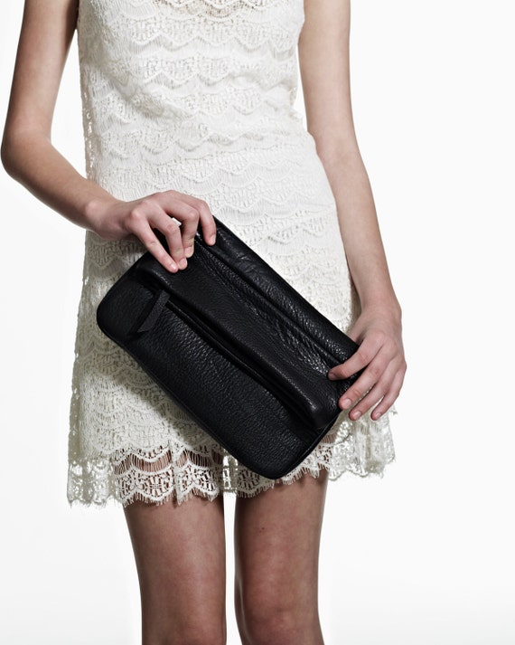 Leather clutch - OPELLE Fold-Over Clutch Bag - Butter Soft Shrunken Leather - Ready to Ship