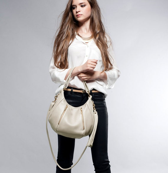 Soft Leather Bag - OPELLE Baby Ballet Bag - Pebbled Leather Purse w Zipper Pockets in Ivory