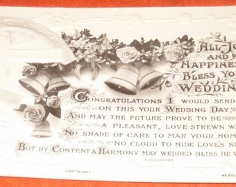 Vintage British Photographic Wedding Postcard