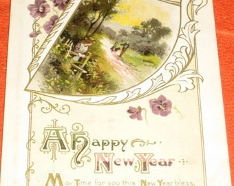 Vintage British Postcard A Happy New Year