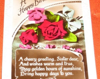 Vintage British Handpainted Photographic Postcard to Wish My Sister a Happy Birthday