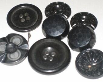 Seven Vintage Assorted Black Buttons