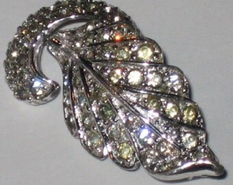 Vintage Rhinestone Leaf Pin Brooch