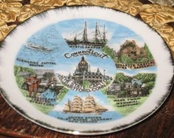Vintage Connecticut Souvenir Saucer