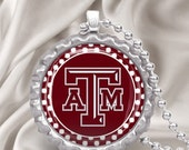 Texas A&M INSPIRED Bottlecap Necklace with chain FREE Shipping