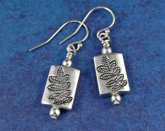 Silver Leaf Earrings - Leaf Earrings - Silver Earrings - Nature Earrings - Woodland Earrings