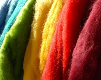 SCOTTISH Romney WOOL ROVING 13 colours - Great for needle felting