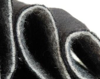 WOOL FELT BLACK - needle felt 5mm