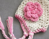 Extra Chunky Crochet Baby Earflap Hat- Ivory/ Cream- Pink Flower- Warm baby, toddler, girls