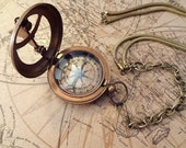 FREE SHIPPING vintage snake chain steampunk sun dial working compass necklace  OOAK