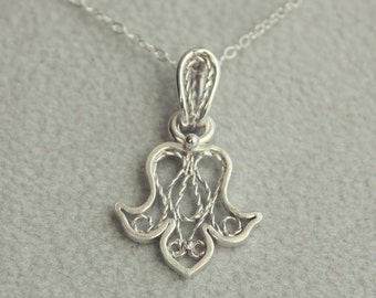 Royal Lily pendant. Handcrafted thin filigree one of a kind pendant. Solid silver.
