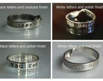 PERSONALIZED RING with any CUSTOM words and numbers. Mobius or round. White or black letters. Satin, polish or oxidized. Solid sterling .925