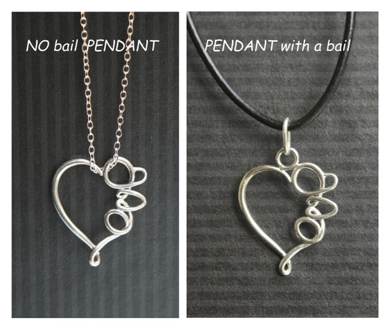 SWEETHEART. Love in Calligraphy heart shape Pendant. Sterling Silver. 925. Ready to ship. Cute gift. Wire wrapped, all soldered, high polish