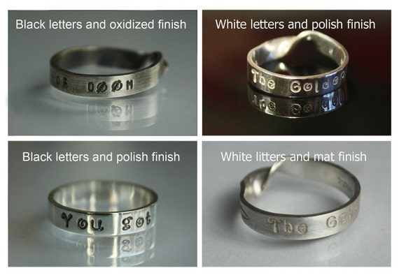 Say Love. PERSONALIZED RING with any CUSTOM words and numbers. Any shape and finish. White or black letters. Any size. 925. Fast.