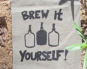 Brew It Yourself Patch - Black on Green - Grey Canvas - homebrew beer patch with carboys