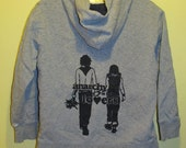 Hoodie - Anarchy is for Lovers, Small, Black on Grey - Zip Front Hoody, Gray, Silkscreen Screenprint Image