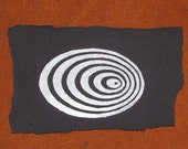 Patch - Geometric Concentric Rings Crop Circle Patch - White on Black Cotton Fabric, Cissbury Ring - sacred geometry, punk patches