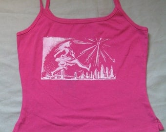Woman Smashes the City, Pink Silkscreened Tank Top, small