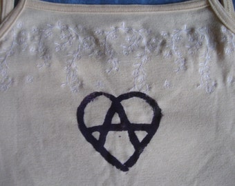 DISCOUNT: Anarchy Heart Tank Top, Dark Purple Ink on Lacey Yellow Medium - sale, cheap, imperfect, singlet, shirt, lace