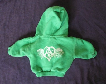 Green Flying Forest Defender - Baby Hoodie, 3-6 months - hooded zip sweatshirt for baby child, with anarchy heart wings