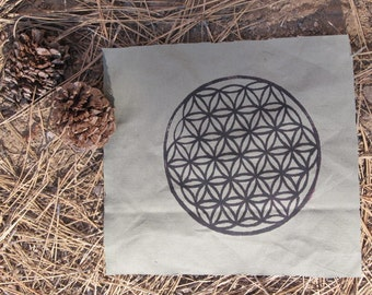 Large Flower of Life Patch - Black on Green-Grey Canvas