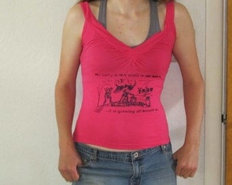 A New World In Our Hearts Growing All Around, Bright Pink V Neck Tank Top, Extra Small XS