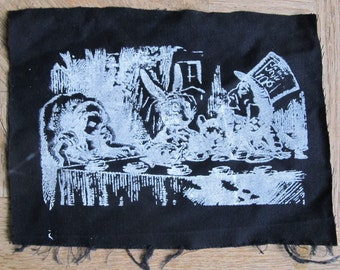 Alice in Wonderland Mad Hatter Tea Party - Screenprint  White on Black Fabric Patch, Inverted, punk patch