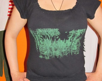 Forest Wins & Flying Anarchy Heart Forest Defender. Black Fitted T Shirt, with Green Ink, Medium